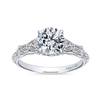 DIAMOND ENGAGEMENT RINGS - 18K White Gold Vintage Inspired .68cttw Amavida Diamond Engagement Ring