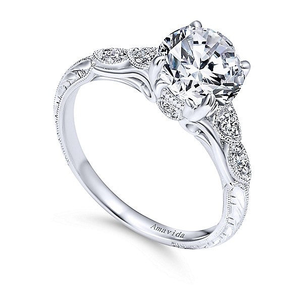 18k White Gold Vintage Inspired Amavida Diamond Engagement