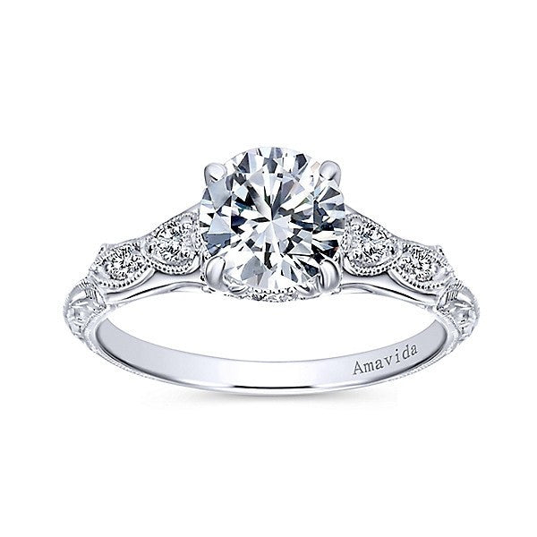 diamond engagement rings 18k white gold vintage inspired amavida diamond engagement ring - Vintage Inspired Wedding Rings