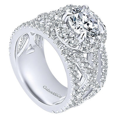 DIAMOND ENGAGEMENT RINGS - 18K White Gold Vintage Trellis Stack Diamond Engagement Ring