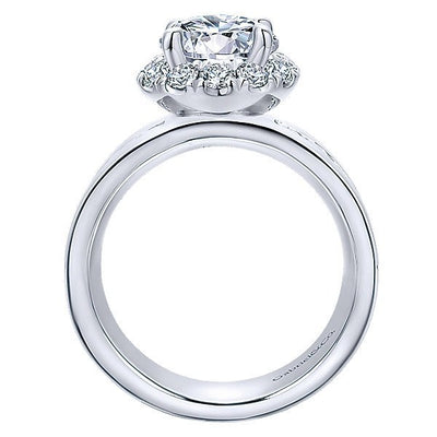 DIAMOND ENGAGEMENT RINGS - 18K White Gold Wide Brushed Channel Set Diamond Engagement Ring