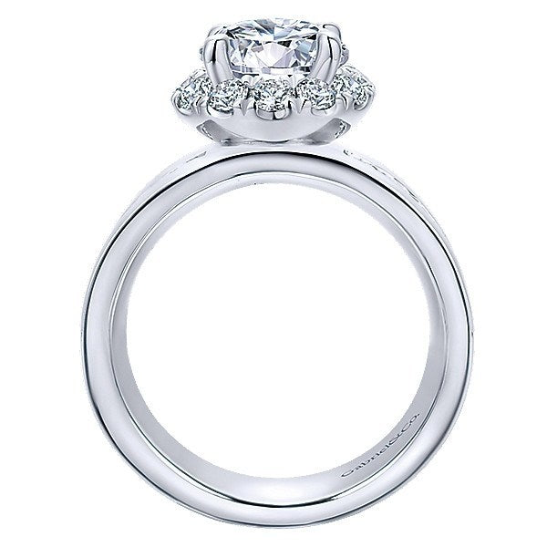 18k white gold wide brushed channel set engagement