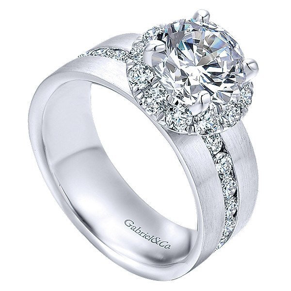 14k White Gold Wide Brushed Channel Set Diamond Engagement Ring Mullen Brothers