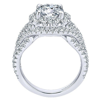 DIAMOND ENGAGEMENT RINGS - 18K White Gold Woven Split Shank Style Halo Diamond Engagement Ring