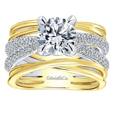DIAMOND ENGAGEMENT RINGS - 18K Yellow And White Gold Stacked Twisted Style Diamond Engagement Ring