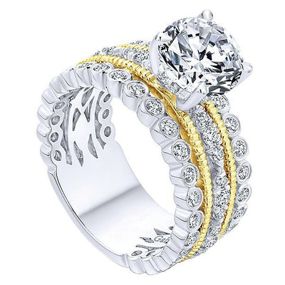 DIAMOND ENGAGEMENT RINGS - 18K Yellow And White Gold Stacked Vintage Style Diamond Engagement Ring