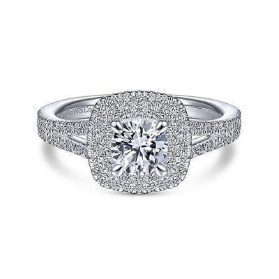 Alice - Cushion Shaped Double Halo 1cttw Diamond Engagement Ring