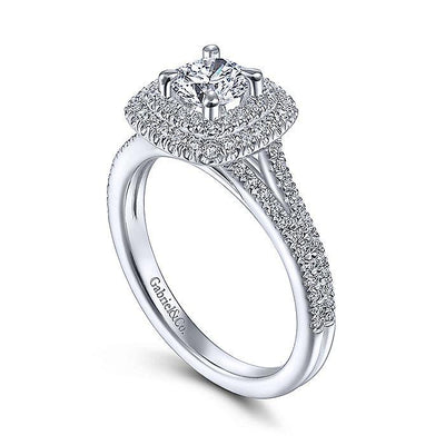 Alice - Cushion Shaped Double Halo 4/5cttw Diamond Engagement Ring