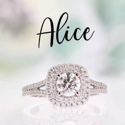 DIAMOND ENGAGEMENT RINGS - Alice - Cushion Shaped Double Halo 4/5cttw Diamond Engagement Ring