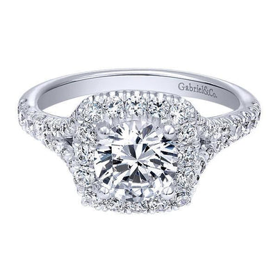 DIAMOND ENGAGEMENT RINGS - Cushion Shaped Halo Diamond Engagement Ring With Subtle Split Shank
