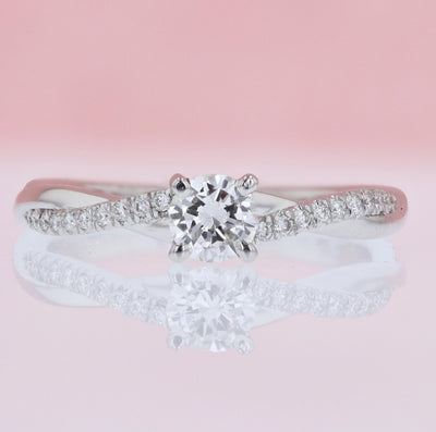 DIAMOND ENGAGEMENT RINGS - Grace - Criss-cross 1/2cttw Round Diamond Engagement Ring