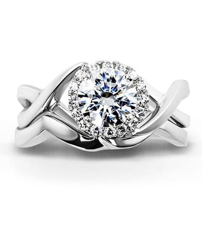 DIAMOND ENGAGEMENT RINGS - Mark Schneider Aura Round Halo Diamond Engagement Ring With Twisted Shank Designed