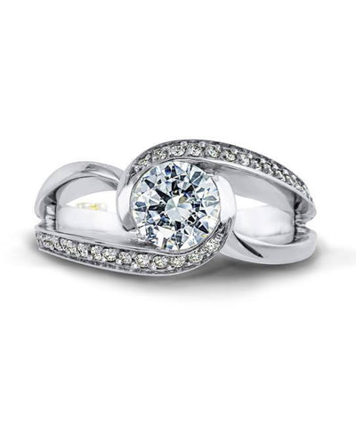 DIAMOND ENGAGEMENT RINGS - Mark Schneider Cascade 1.20cttw Curved Split Shank Diamond Engagement Ring