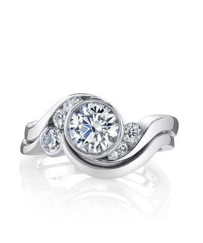 DIAMOND ENGAGEMENT RINGS - Mark Schneider Celestial Bypass Bezel Diamond Engagement Ring