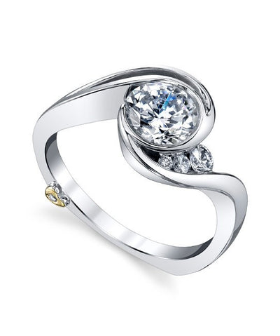 DIAMOND ENGAGEMENT RINGS - Mark Schneider Splendid Bypass Bezel Diamond Engagement Ring