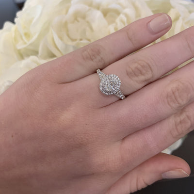 Oval Double Halo Diamond Engagement Ring with Diamond Split Shank