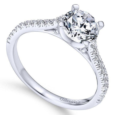 DIAMOND ENGAGEMENT RINGS - Platinum 1/4cttw Pave Set Round Diamond Engagement Mounting
