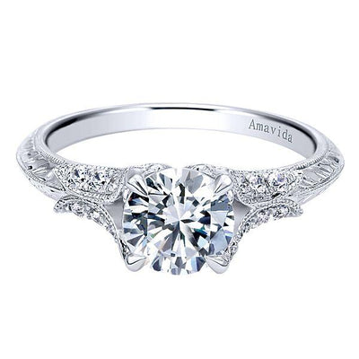 DIAMOND ENGAGEMENT RINGS - Platinum .20cttw Amavida Vintage Flared Diamond Engagement Ring Mounting