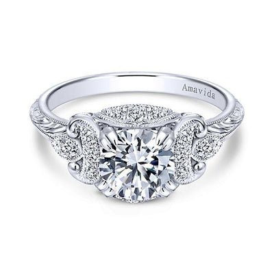 DIAMOND ENGAGEMENT RINGS - Platinum .20cttw Amavida Vintage Flared Ornate Diamond Engagement Ring