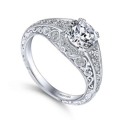 DIAMOND ENGAGEMENT RINGS - Platinum .31cttw Amavida Vintage Diamond Engagement Mounting