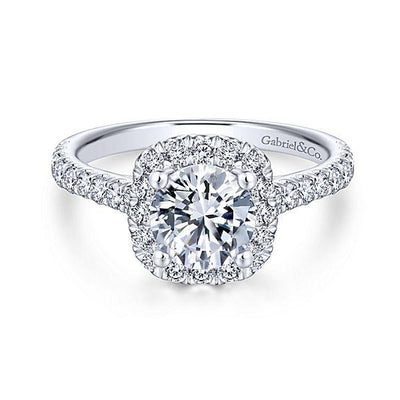 DIAMOND ENGAGEMENT RINGS - Platinum .66cttw Amavida Cushion Halo Diamond Engagement Ring Mounting With Ornate Gallery