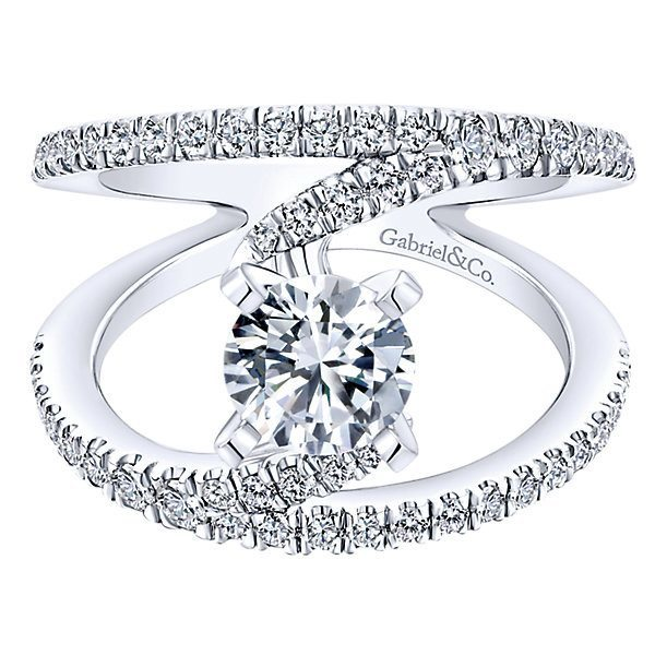 Twisted Wide Split Shank Unique Diamond Engagement Ring