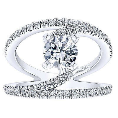 DIAMOND ENGAGEMENT RINGS - Twisted Wide Split Shank Unique Diamond Engagement Ring