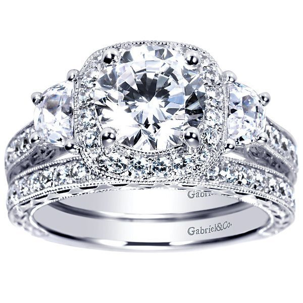 diamond engagement rings vintage halo 3 stone plus 235cttw diamond engagement ring with - 3 Stone Wedding Rings