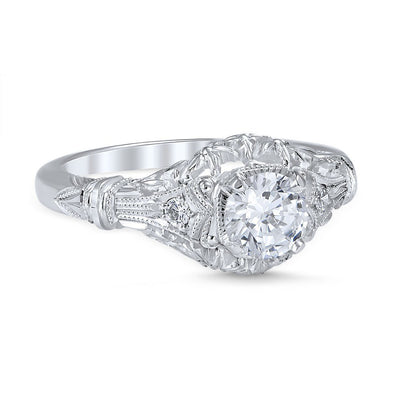 DIAMOND ENGAGEMENT RINGS - Vintage Style Edwardian Blossom Die Struck .56cttw Diamond Engagement Ring