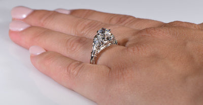 Vintage Style Edwardian Blossom Die Struck Diamond Engagement Ring
