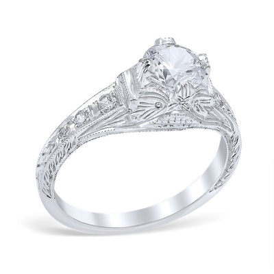 DIAMOND ENGAGEMENT RINGS - Vintage Style Fiorella Die Struck .60cttw Diamond Engagement Ring