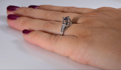 Vintage Style Fiorella Die Struck Diamond Engagement Ring