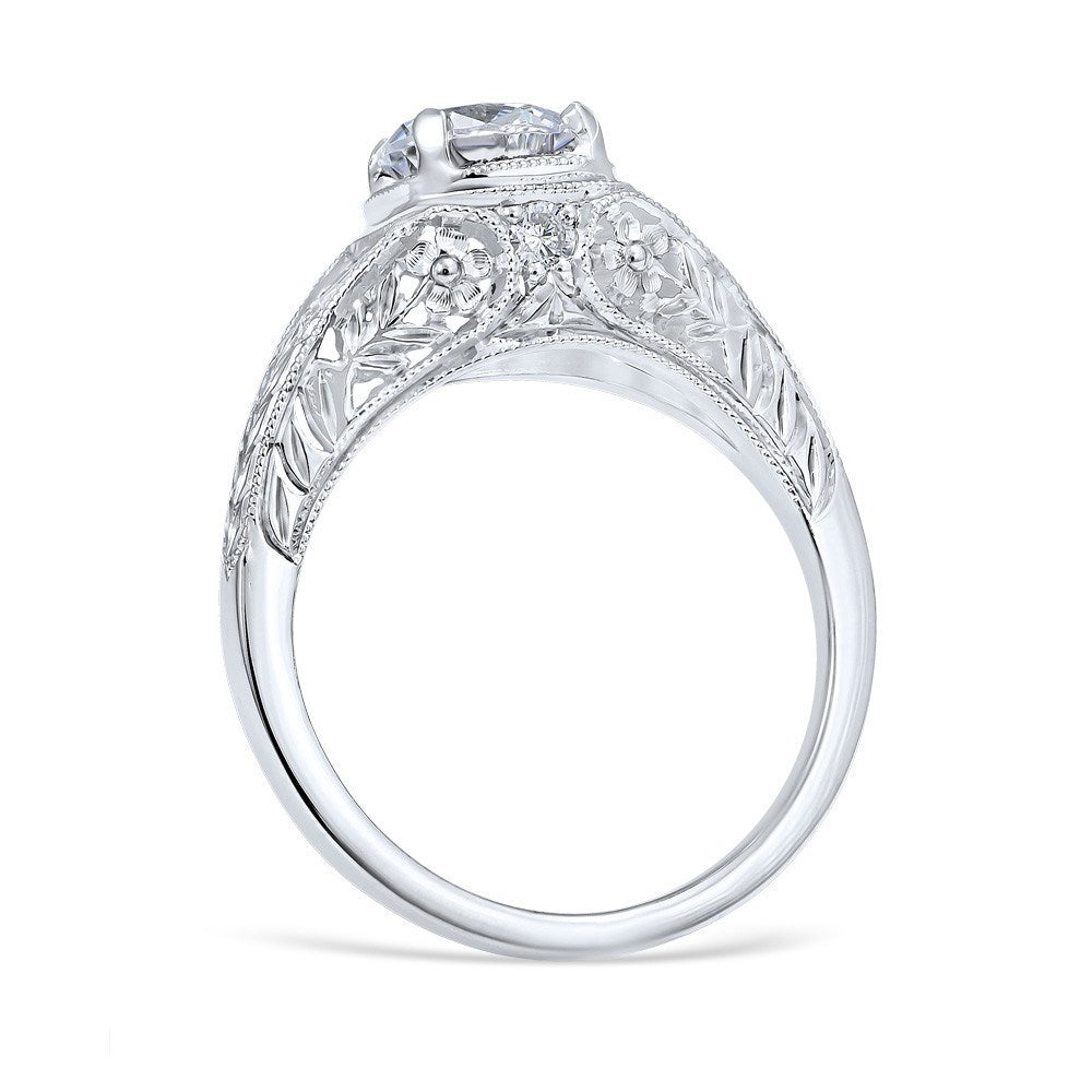 Diamond Engagement Rings  Vintage Style Floral Burst Die Struck  70cttw Diamond Engagement Ring