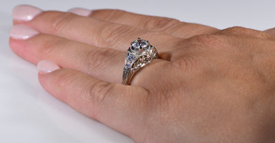 Vintage Style Floral Burst Die Struck Diamond Engagement Ring
