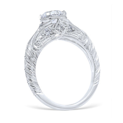 DIAMOND ENGAGEMENT RINGS - Vintage Style Florin Leaf Die Struck 1.00cttw Diamond Engagement Ring