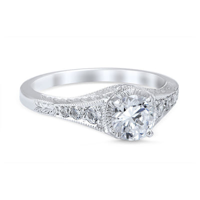 DIAMOND ENGAGEMENT RINGS - Vintage Style Palisades Die Struck .68cttw Diamond Engagement Ring