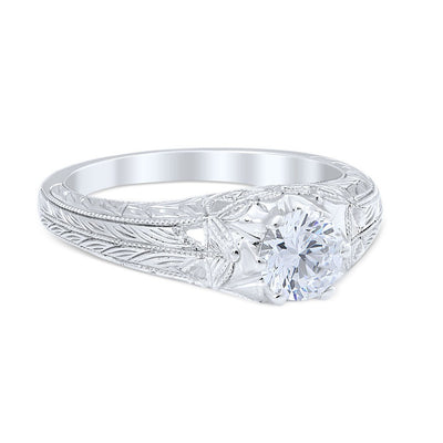 DIAMOND ENGAGEMENT RINGS - Vintage Style Sweeping Lace Die Struck .50ct Diamond Engagement Ring