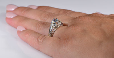 Vintage Style Sweeping Lace Die Struck Diamond Engagement Ring