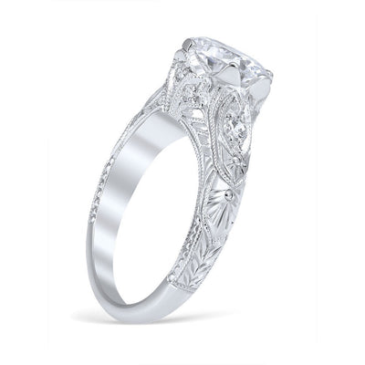 DIAMOND ENGAGEMENT RINGS - Vintage Style Venetian Crown Die Struck 1.50cttw Diamond Engagement Ring