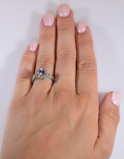 Vintage Style Venetian Crown Die Struck Diamond Engagement Ring