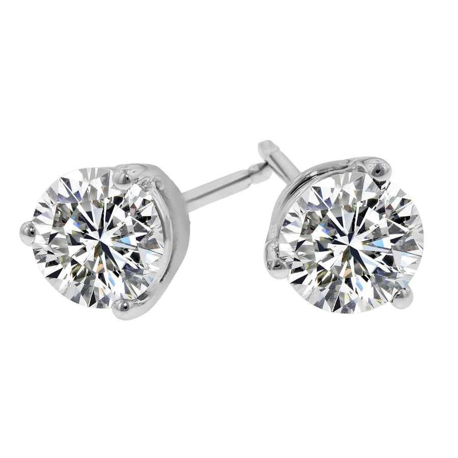 hearts carats stud earrings drop in gold diamond products triplicity fire on total white