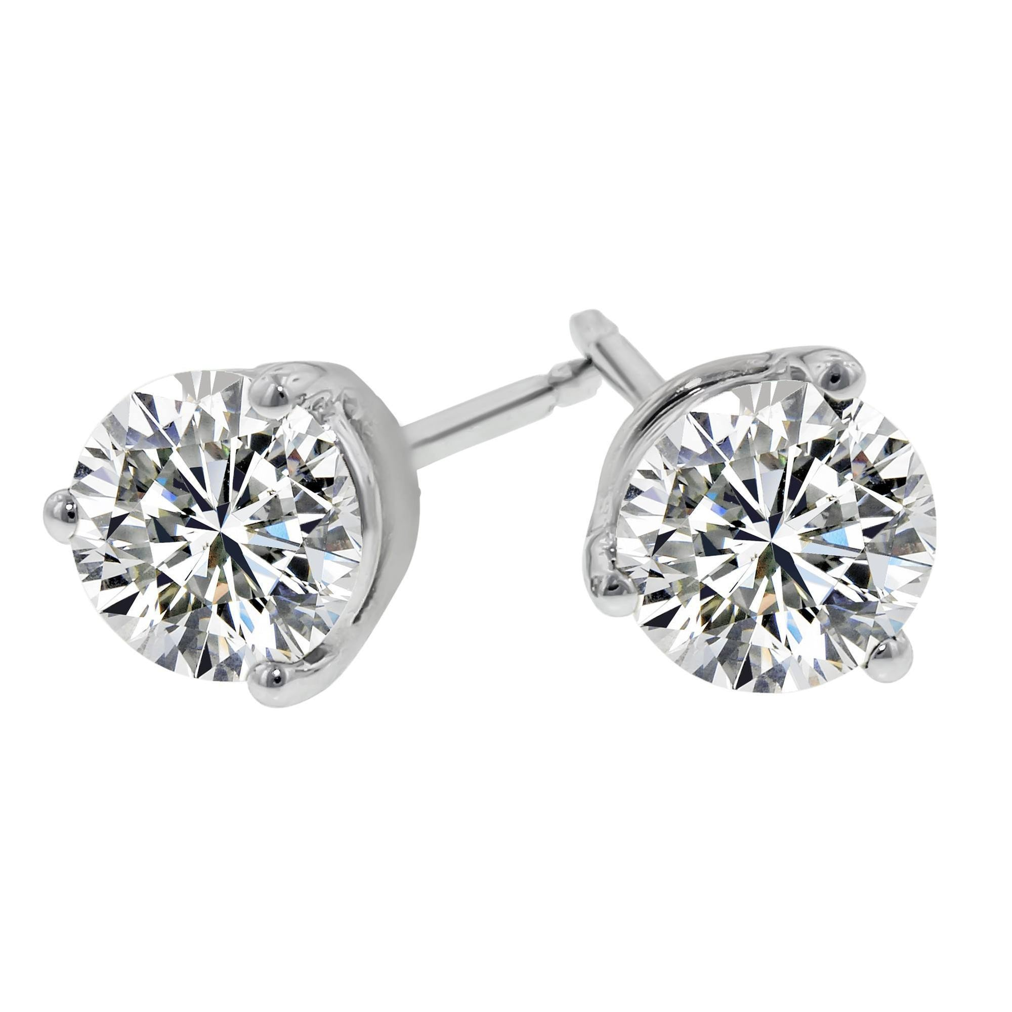 gold diamond ear s men ct stud solitaire studs yellow mens ladies cut round