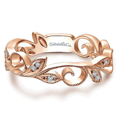 DIAMOND JEWELRY - 14K Rose Gold Floral Diamond Stackable Band
