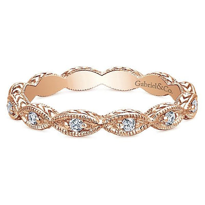 DIAMOND JEWELRY - 14K Rose Gold Marquise Shaped Stackable Diamond Ring