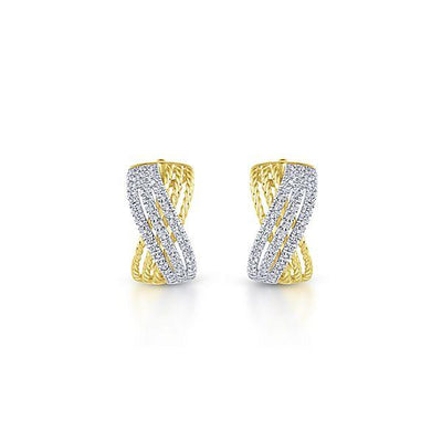 DIAMOND JEWELRY - 14K Two-Tone Criss Cross Weave Diamond Hoop Earrings