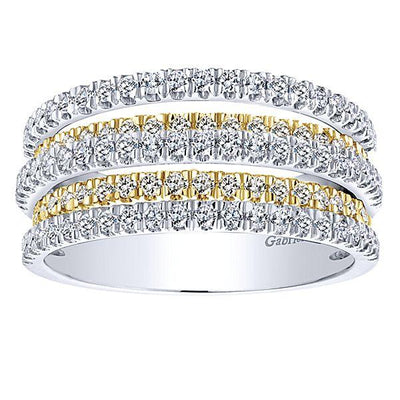 DIAMOND JEWELRY - 14K Two-Tone Gold 1cttw Multi-Row Pave Diamond Ring