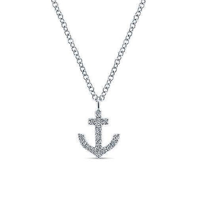 DIAMOND JEWELRY - 14K White Gold 1/10cttw Diamond Anchor Necklace