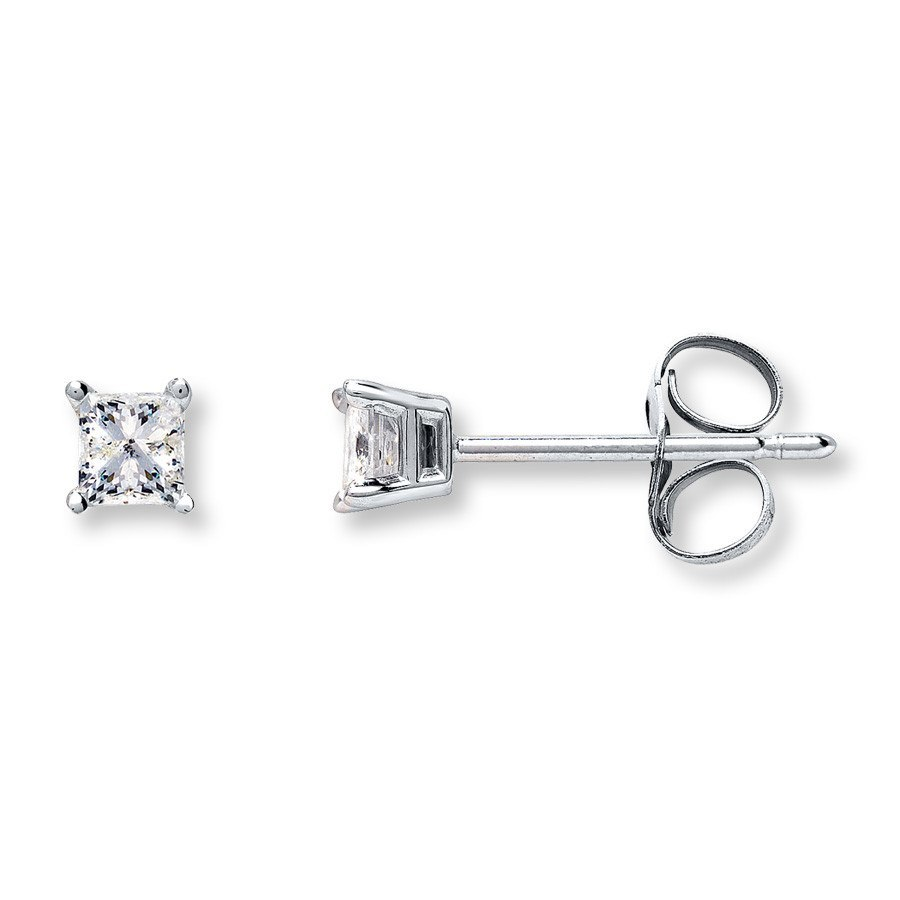 other double solid sizes gold diamond stud earrings studs princess rose accent cut prong basket setting solitaire