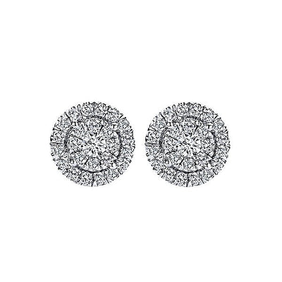 DIAMOND JEWELRY - 14K White Gold 1/2cttw Round Diamond Halo Cluster Stud Earrings