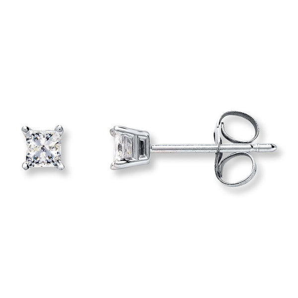 1//4 CT Simulated Crystal Square Stud Earrings White Gold Over Silver